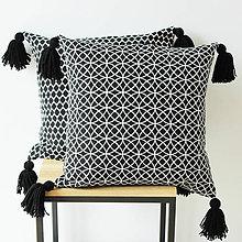 Úžitkový textil - Potah na polštář se střapci - vzor kruhy - 9336177_