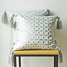 Úžitkový textil - Potah na polštář se střapci - vzor kruhy - 9336384_