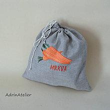 Úžitkový textil - ľanové vrecko  (mrkva) - 9336100_