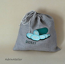 Úžitkový textil - ľanové vrecko  (uhorky) - 9336104_