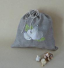 Úžitkový textil - ľanové vrecko  (cesnak) - 9336112_