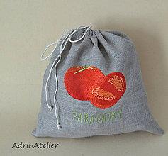 Úžitkový textil - ľanové vrecko  (paradajky) - 9336116_