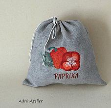 Úžitkový textil - ľanové vrecko  (paprika) - 9336120_