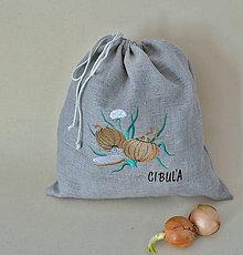 Úžitkový textil - ľanové vrecko  (cibuľa) - 9336122_