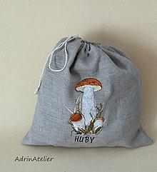 Úžitkový textil - ľanové vrecko  (huby) - 9336131_