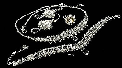 Sady šperkov - Krištáľový svet (náhrdelník+náramok+prsteň) - 9333232_