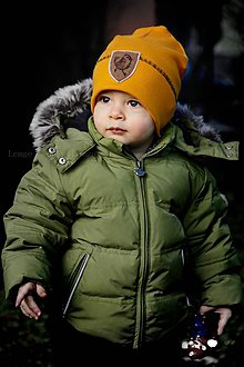 Detské čiapky - Flexi čiapka s aplikáciou-horčicová - 9333757_