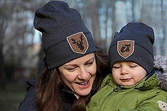 Detské čiapky - Flexi čiapka s aplikáciou-antracit - 9336680_