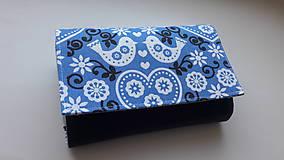 Peňaženky - Peňaženka modré folk vtáčiky - 9340183_