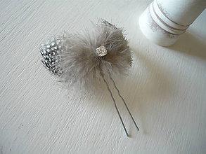 Ozdoby do vlasov - Fascinátor / vlásenka čierno-biela so štrasom - 9341063_