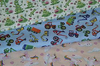 Textil - Látka Žaby, traktory a jednorožci - 9339005_
