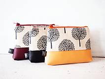 Taštičky - Kozmetická taška malá režná - béžová s okrovou - 9340448_