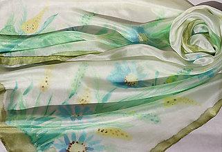 Šály - Lúčne kvety..hodvábny šál - 9338153_