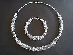 Sady šperkov - Sada strieborná perleť - 9337653_