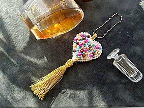 Kľúčenky - Zlaté srdce/ prívesok na kabelku - 9339385_