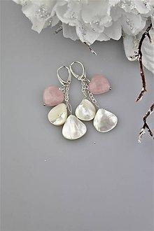 Náušnice - ruženín striebro perleť náušnice luxusné - 9338045_