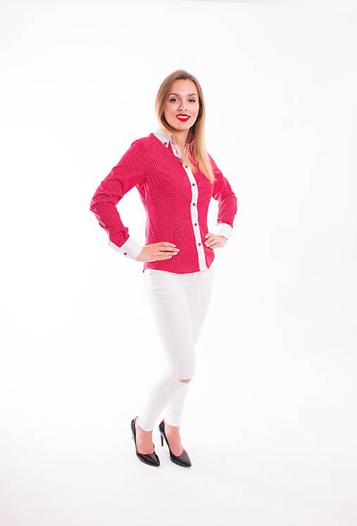 edcd91a6de95 Červená dámska košeľa - Slim Fit VS-DK1601   Modneveci - SAShE.sk ...