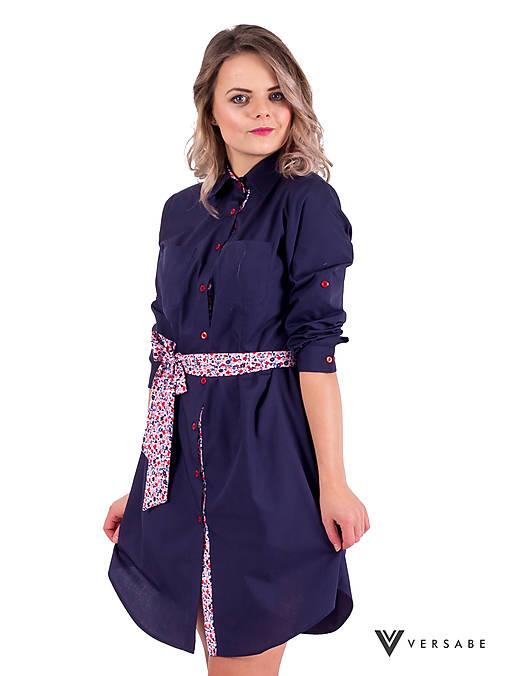 39acd760e9 Dámske košeľové šaty VS-DS 1840 tmavo modré   Modneveci - SAShE.sk ...