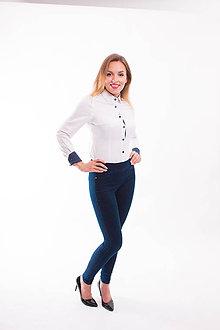 c0e77285103a Košele - Biela dámska košeľa s bodkovaným lemom Slim-Fit VS-DK1610 -  9338646