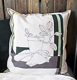 Úžitkový textil - Ručne maľovaná obliečka na vankúš PRALA kvetináčová II. - 9340935_