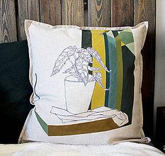 Úžitkový textil -  Ručne maľovaná obliečka na vankúš PRALA kvetináčová III. - 9340942_