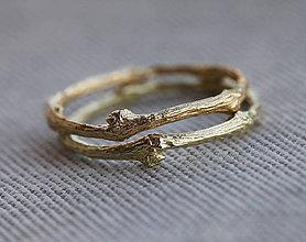 Prstene - Vetvičkový prsteň zlatý 14 karátov (Au585), obrúčka alebo len tak... - 9339823_