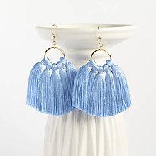 Náušnice - Zlaté náušnice so strapčekmi - Nebesky modré, mosadz - 9337206_