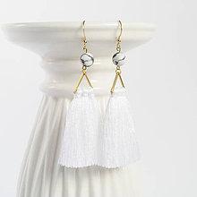 Náušnice - Zlaté náušnice s bielym strapcom a s mramorovou korálkou - 9337216_