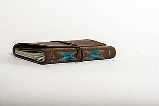Iné doplnky - Kožený Zápisník Motýlie krídla - tyrkysová niť - 9338762_