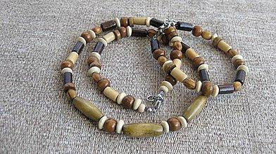 Šperky - Pánska drevená sada náhrdelník + náramok - chirurgická oceľ (č. 1931) - 9338930_