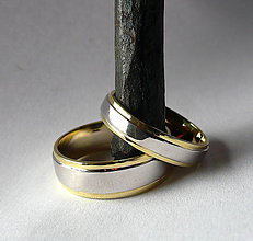 Prstene - žlto-biele zlaté obrúčky - 9338612_