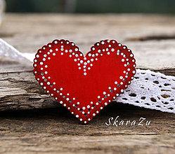 Odznaky/Brošne - Srdce v krajkách - 9337294_