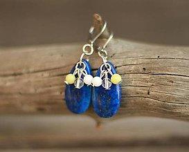 Náušnice - Náušnice z minerálu lapis lazuli, chirurgická oceľ - 9337385_