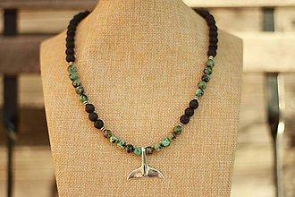 Šperky - Pánsky náhrdelník z minerálov africký tyrkys a láva - 9338387_