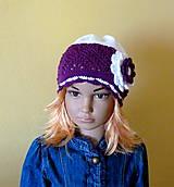 Detské čiapky - Fialovo biela prechodna ciapka SKLADOM - 9341205_