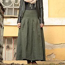 Sukne - Ľanová sukňa Slavena zelená DOPREDAJ - 9342062_