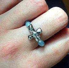 Prstene - Elastic Rosary Faceted Aquamarine Antique Silver Ring / Elastický prsteň - ruženec fazetovaný akvamarín #0338 - 9342412_