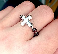 Prstene - Elastic Rosary Garnet Antique Silver Ring / Elastický prsteň - ruženec granát, starostriebro /0337 - 9342429_