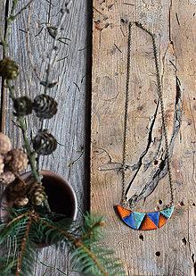 Náhrdelníky - keramický náhrdelník trojuholníky oranžové, modré, tyrkysové - 9342498_