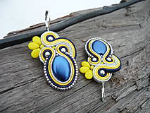 - Soutache Náušnice Modro-žlté...Švédske farby :) - 9342562_
