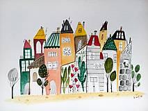 - Mesto 35 ilustrácia  / originál maľba  - 9341470_