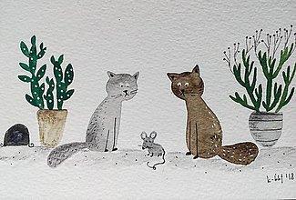 Papiernictvo - Mačky a myš pohľadnica  ilustrácia / originál maľba - 9343344_