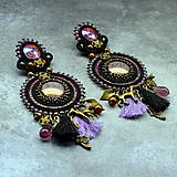 Náušnice - Black&wine shade earrings - sutaškové náušnice - 9341818_