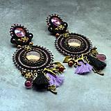 Náušnice - Black&wine shade earrings - sutaškové náušnice - 9341818_