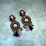 Náušnice - Black&wine shade earrings - sutaškové náušnice - 9341819_