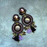 Náušnice - Black&wine shade earrings - sutaškové náušnice - 9341820_