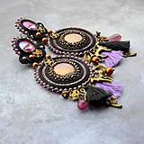 Náušnice - Black&wine shade earrings - sutaškové náušnice - 9341821_