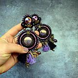 Náušnice - Black&wine shade earrings - sutaškové náušnice - 9341822_
