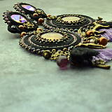 Náušnice - Black&wine shade earrings - sutaškové náušnice - 9341823_