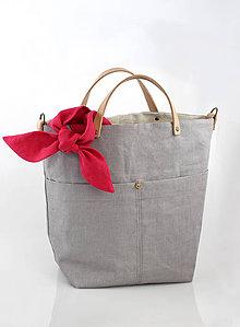 Veľké tašky - Šedá elegantná ľanová kabelka